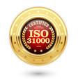 iso 31000 certified medal - risk management vector image