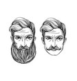 portrait of men with beard and mustache vector image
