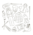 Set of warm winter clothes design vector image
