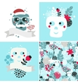 Winter skulls set vector image