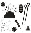 Sewing kit Set for sewing on a white background vector image vector image
