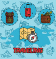 traveling flat concept icons vector image