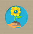 earth day paper cut flower nature concept vector image