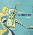 Retro background with coktail glass vector image vector image