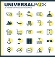 Travel icons set collection of gingham basin vector image