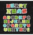 Colorful Retro Christmas Alphabet vector image