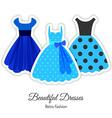 Blue Retro Dresses Background vector image