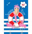 flamingo card 1 380 vector image