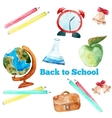 watercolor back to school poster with vector image