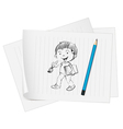 sketch of a boy on paper vector image vector image