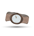 brown clock watch with brown leather strap - five vector image