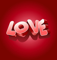 Love text on red background for Valentines Day vector image