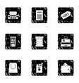 Store icons set grunge style vector image