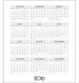 template calendar grid for 2016 vector image