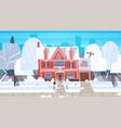 village winter landscape house building with snow vector image