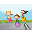 Three kids at the street with their bouncing balls vector image