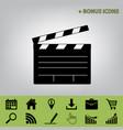 film clap board cinema sign  black icon at vector image