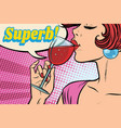 super reaction woman drinking red wine vector image