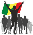 Winner with the Senegal flag at the finish vector image