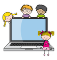 children with a computer vector image