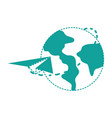 dotted shape global earth planet with paper vector image