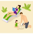 Family Vacation Isometric Composition vector image