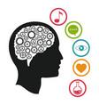 head brain knowlegdge social media vector image