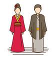 japan traditional costume kimono vector image