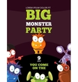 Monster party card invitation poster backdrop vector image