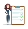 woman with a questionnaire vector image