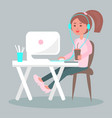working on computer with coffee flat vector image
