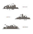 France Italy and Mexico skyline silhouettes vector image