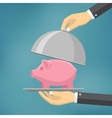 The businessman offering piggybank on the clothe vector image
