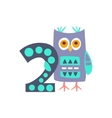 Owl Standing Next To Number Two Stylized Funky vector image