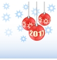 Set Christmas tree toy Round ball New 2017 vector image