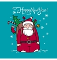 Happy New Year card with Santa Claus and gifts vector image