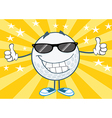 Cool golf ball with sunglasses vector image vector image