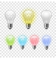 Rainbow transparent light bulbs set background vector image