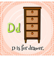 Flashcard letter D is for drawer vector image vector image