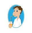 man drinking juice vector image