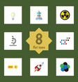 flat icon science set of irradiation chemical vector image