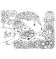 Fox in the flowers Doodle vector image