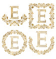 golden e letter ornamental monograms set heraldic vector image