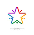 rainbow star abstract design element vector image