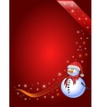 Red Christmas background with snowman vector image