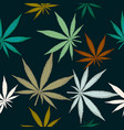 seamless pattern with leaves of marijuana on dark vector image