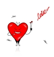Valentine day Funny heart with bouquet for your vector image vector image