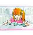 young girl reading a book vector image