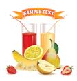 glasses with juice lemon banana pear strawberry vector image