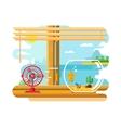 Fan and Aquarium on Windowsill Next to Open Window vector image